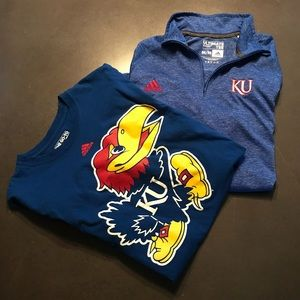 2 Adidas Men's KU long sleeve t-shirts. Size Med.